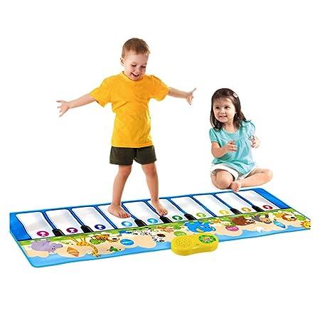 Dopobo Pliant jouet Musique tapis de danse , LED Jouet Moquette piano électronique de motif animaux multicolore pour les enfants éducatifs