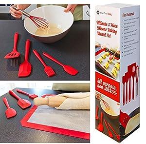 StarPack Premium Silicone Kitchen Utensils Set (5 Piece) in Hygienic Solid Coating - Bonus 101 Cooking Tips