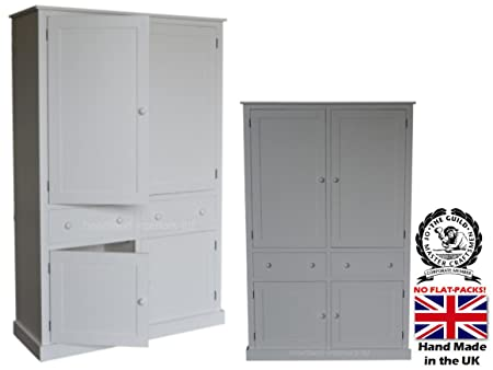 100% Solid Wood Storage Cabinet, 200cm Tall Handcrafted & White Painted Pantry/School/Shoe/Linen/Larder/Kitchen Storage Cabinet. Choice of Colours. No flat Packs, No assembly! (CUP2M-P)