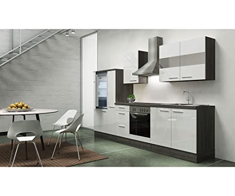 respekta appliances 300 CM Grey Oak Imitation White Gloss APL Oak Imitation Grey