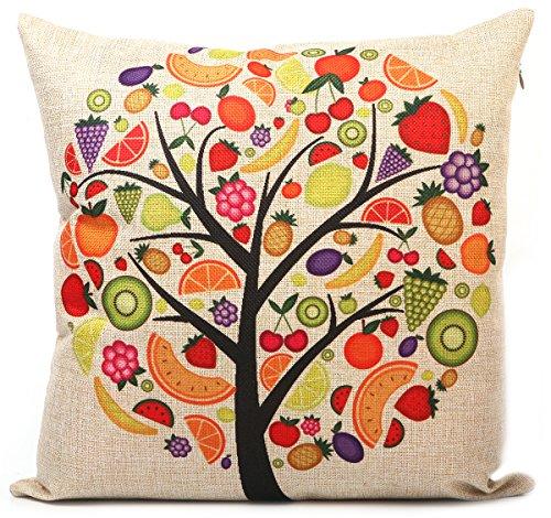 KAIKSO-IN Baumwolle und Leinen mit Kissen Taille Kissen (Fruit tree)