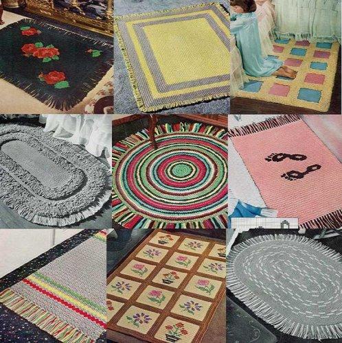 10 Vintage Rug Crochet Patterns: Foorprints, Flowers, Blocks, Stripes, Fringe, Round, Rectangular, Loop-Stitch + MORE!