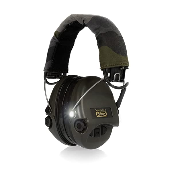 MSA Sordin Supreme Pro X with LED Light - Electronic EarMuff with camo-band, green cups and gel seals fitted (Color: camo - green, Tamaño: M/L)