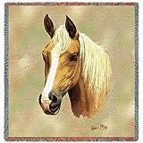 Horse Palomino Lap Square - 54 x 54 Blanket Throw USA Made
