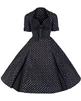 Pretty Kitty Fashion 50s Black White Polka Dot Retro Dress