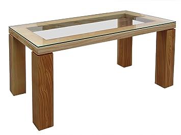 Diseño de mesa con tablero de cristal, fresno macizo-