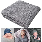 Newborn Photography Props Newborn Baby Stretch Long Ripple Wrap Yarn Cloth Blanket by Bassion, Grey, 16