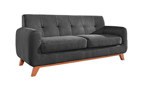 Relaxima 30E90024 SCANDINAVE Canapé Bois Gris Fonce 192 x 88 x 92 cm
