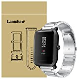 For Xiaomi Amazfit Bip Band, Lamshaw Stainless Steel Metal Replacement Straps for Xiaomi Huami Amazfit Bip Younth Watch (Silver)