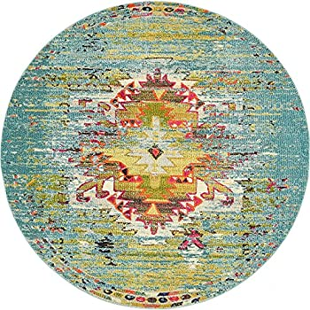 A2Z Rug Modern Contemporary & Traditional Design Rugs, Turquoise 8 -Feet-Round Milano Collection Area rug