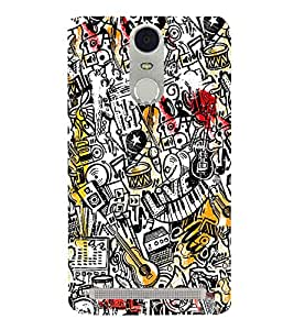 Vintage Music Wallpaper 3D Hard Polycarbonate Designer Back Case Cover for Lenovo K5 Note :: Lenovo Vibe K5 Note Pro