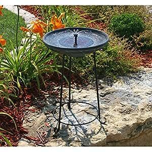 Amazon.com: Matte Black Bowl Solar Fountain Bird Bath with