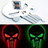 ZAGEVIVIN Skull Dark Lamp LED Wall Night Light Sign, Colorful 3D 7 Colors LED Remote Control, USB Charger Light Suitable for Bar, Halloween, Bedroom, Home and so on. (Silver) (Color: Silver)