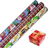 Christmas Holiday Gift Wrap in Assorted Festive Styles 30 in x 16 ft in Each Roll, 3 Rolls- Tablesto®