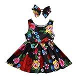 Floral Dress,G-real Toddler Baby Little Girls Summer Flower Bow Strap Sundres+Headband Set For 18M-4T (Multicolor, 3T)