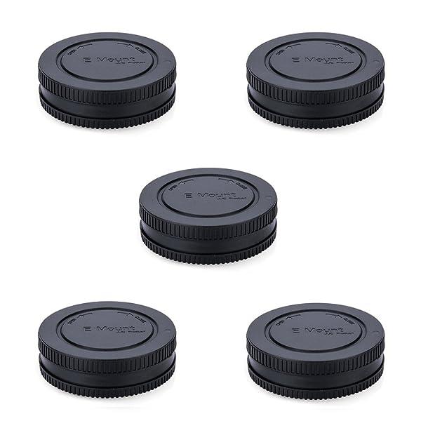 Rear Lens Cap & Body Cap JJC Rear Lens Cover Body Cover for Sony E Mount A6600 A6500 A6400 A6300 A6100 A6000 A5100 A5000 A9 A7 III II A7R III II A7s II A7S NEX-5 NEX-6 Replace Sony ALC-B1EM -5Pack (Color: 5 Pack)