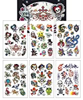 6-sheet Temporary Tattoo Book, Awesome Skull Tattoos Halloween Collection