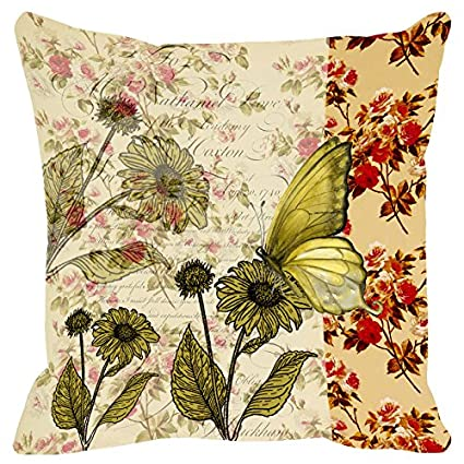 Butterfly-&-Floral-Ivory-Green-Cushion-Cover-16x16