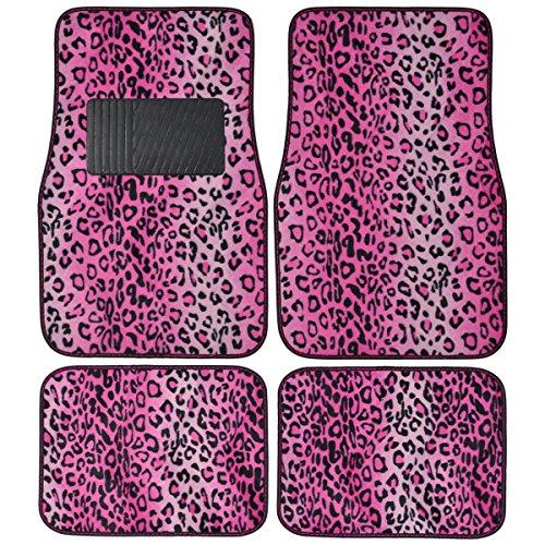 Bdk Pink Leopard Animal Print Front & Rear Carpet Car Truck Suv Floor Mats front-497486