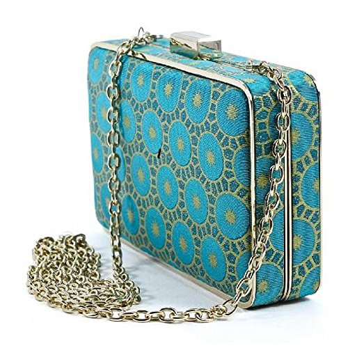 sondra-roberts-turquoise-blue-circle-print-minaudiere-evening-bag-with-chain-strap
