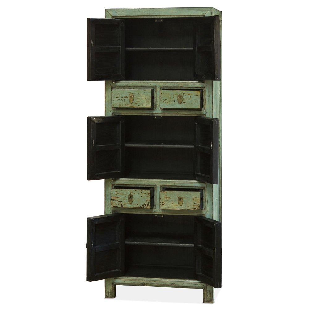 China Furniture Online Armoire, Tibetan Style Tall Cabinet with Koi Fish Motif 1