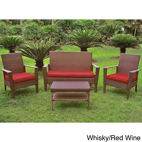 International Caravan Contemporary Resin Wicker Settee Group With Corded Cushion
