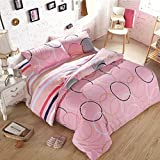 Ttmall Twin Full Size 4-pieces Cotton&microfiber Thickened Sanding Coloueful Pink Gray White Black Yellow Red Blue Circle Geometric for Girls Prints Duvet Cover Set/bed Linens/bed Sheet Sets/bedclothes/bedding Sets/bed Sets/bed Covers/5-pieces Comforter S