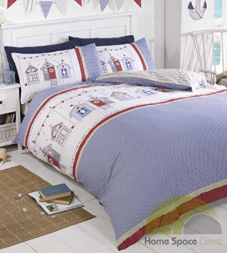 Double Duvet Cover Set Summer Seaside Beach Huts