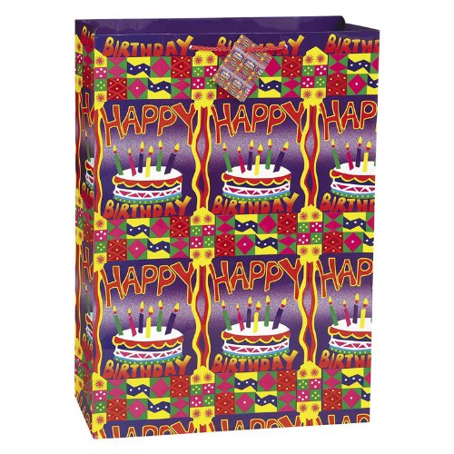 Birthday Brilliance Gift Bags 18-Inch by 13-Inch, 4 Designs/Pkg, Glossy Jumbo