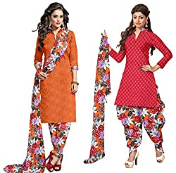 Ethnic For You Crepe Unstitched Salwar Suit Dress Materials(ORANGE,RED)