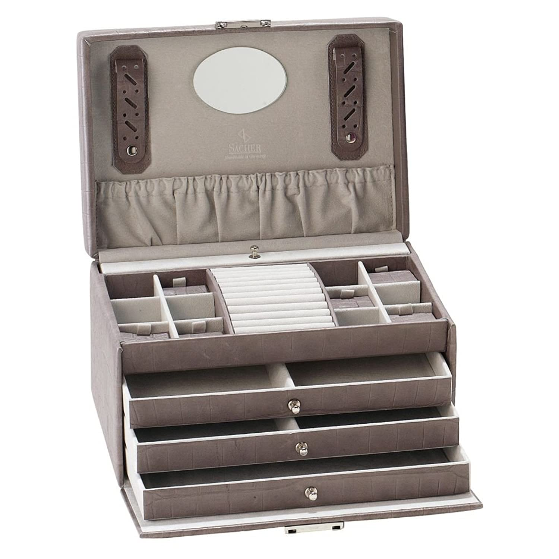 Schmuckaufbewahrung Schmuckkoffer , Leder grau , 3 Schubladen , 1 herausnehmbares Fach mit Haken für Ketten , ca. 16,5 x 27 x 19 cm online bestellen