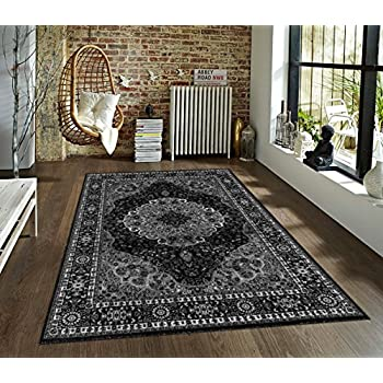 107755 Gray White Black 710x102 Area Rug Carpet Large New