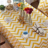 "Chevron Zig Zag Cotton Linen Canvas White Printed Tablecloth (Yellow,Black,Orange,Navy Blue,Aqua,Gray) - Yellow(55""x78"")"