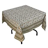 "Handmade Indian 54"" Square Tablecloth - Brown, Green And White Floral Cotton"