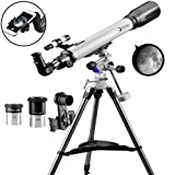 Telescope 70EQ Refractor Telescope Scope - 70mm Aperture and 700mm Focal Length, Multi-Layer Green Film, with Digiscoping Adapter for Photography (Color: 70EQ)