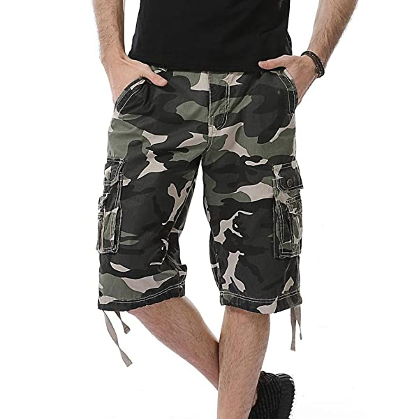 fdb560a897 Aurorax Mens Short with Pockets,Casual Cotton Cargo Shorts Elastic  Sportwear Jogger Sweatpants Pants for Beach ...
