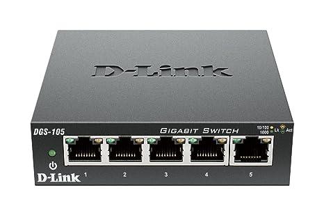 D-Link - DGS-105 - Switch avec boîtier métal - 5 ports Gigabit Ethernet - Gris