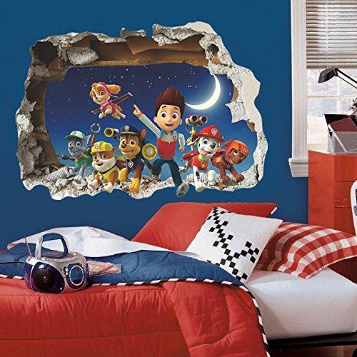 Pegatina de pared vinilo adhesivo efecto 3D decorativo para cuartos, salon,cuarto de juegos,dormitorio,cocina,sala de estar ...patrulla canina de OPEN BUY
