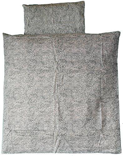 Baby Kinderwagen Bettwäsche Set 2-tlg. 80 x 80 + 35x40cm, weiss grau marmoriert, 100% Baumwolle (weiss grau marmoriert)