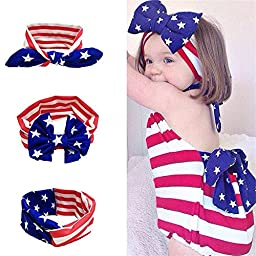 Udobuy3 Pcs Super Cute Babls American Flag Toddler Bow Headbands Turban Knot Rabbit Hairband Headwear
