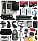 GoPro HERO4 Hero 4 Black Edition 4K Action Camera Camcorder with 48GB All You Need Accessory Bundle includes 2x Micro SD Cards + 2x Extra Batteries + Home & Car Charger + Card Reader + Backpack Bag + Head Helmet Strap + Action Stabilizer Hand Handle + Car Suction Cup Mount + Portrait Selfie Stick Monopod + Full Size Tripod + Medium Travel Case + HDMI Cable + LED Video Light + Floating Float Handheld Grip Bobber + Dust Cleaning Kit (CHDHX-401)