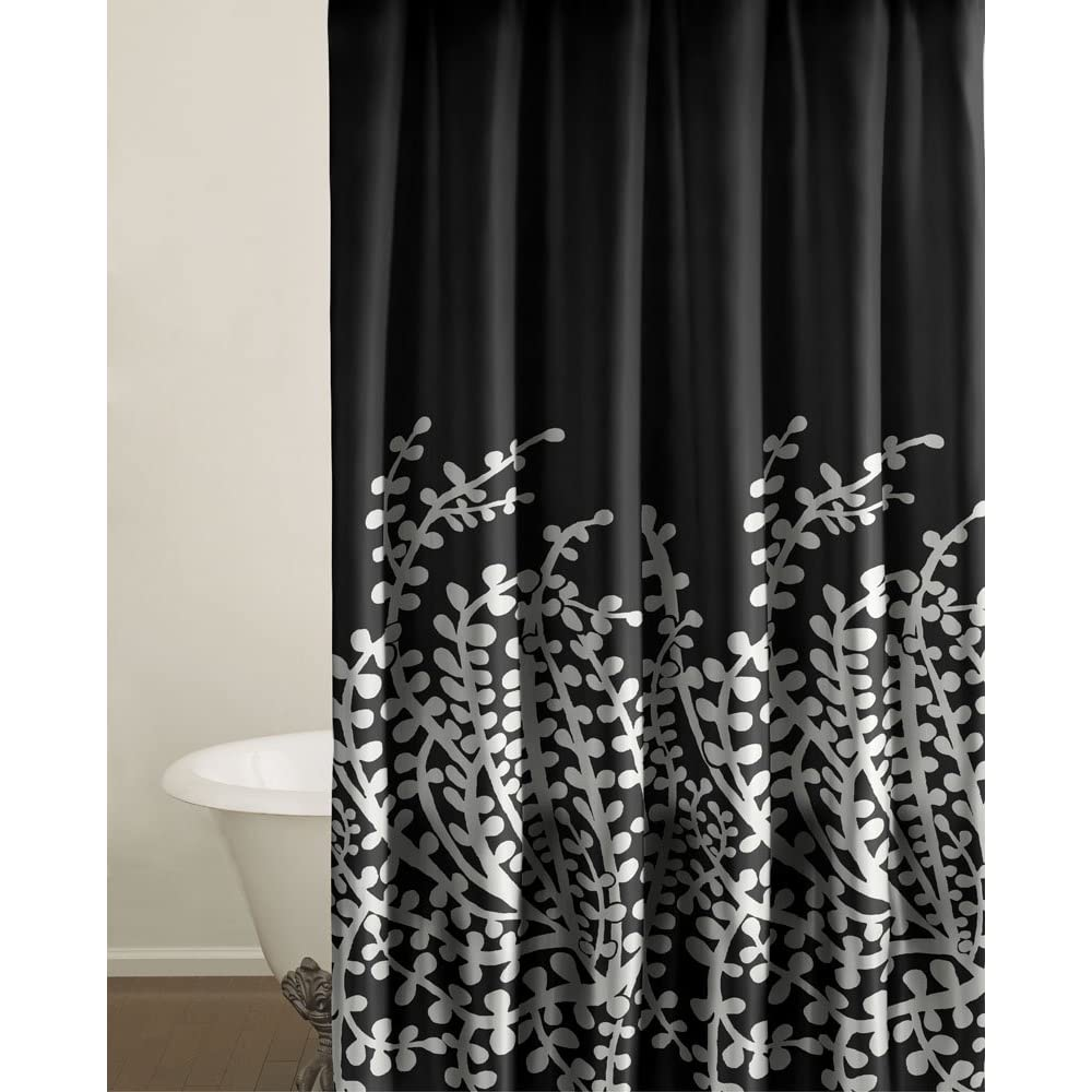 Black White Flowers Shower Curtains Flower Power Shower Curtains