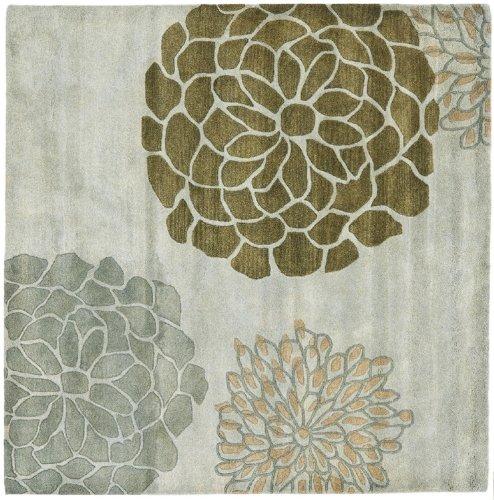 Safavieh Soho Collection SOH211A Handmade Grey New Zealand Wool Square Area Rug, 6-Feet Square