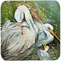 "Caroline's Treasures JMK1210FC White Egret In The Rain Foam Coaster (Set Of 4), 3.5"" H X 3.5"" W, Multicolor"