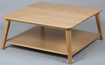 Table basse en chêne massif avec tablettes en médium plaqué, L900 x l900 x Ht400 mm -PEGANE-