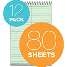 TOPS Spiral Steno Books, 6 x 9 Inches, Gregg Rule, Greentint Paper, 80 Sheets per Book, 12 Books per Pack (8021)