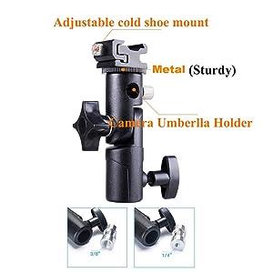 Camera Speedlite Mount Flash Stand Umbrella Holder Flash Bracket Swivel Light Stand Adapter w/Shoe Mount for Camera Nikon Canon Pentax Olympus DSLR Fl