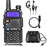 Baofeng UV-5R Dual Band Two Way Raio Walkie Talkie FM Transceiver with USB Charger + Programming Cable (Color: Black)