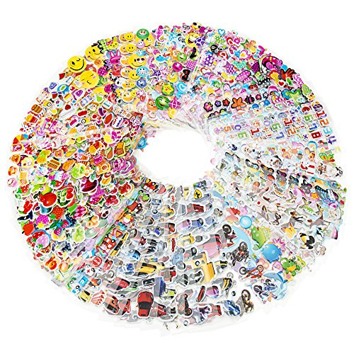 3D-Puffy-1600-Kids-Sticker-Mega-Variety-Pack-80-Different-Sheets-of-3D-Puffy-Stickers-Including-Animals-Fish-Cars-Letters-Numbers-Fruit-Vegetables-Smiley-Faces-and-Lots-More