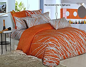 6pc King Orange Tree Set: Duvet Cover, Flat Sheet, Pillowcases and Pillowshams